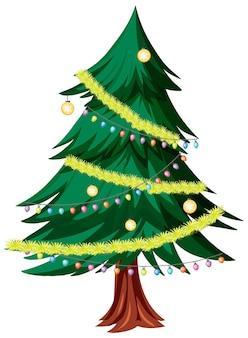 白い背景で隔離のクリスマスツリー