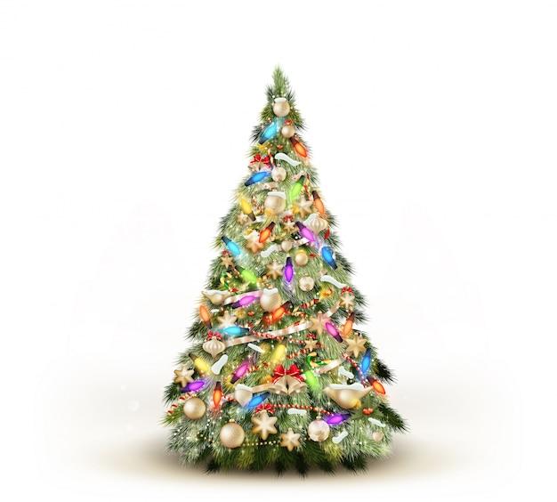 白い背景で隔離のクリスマスツリー。