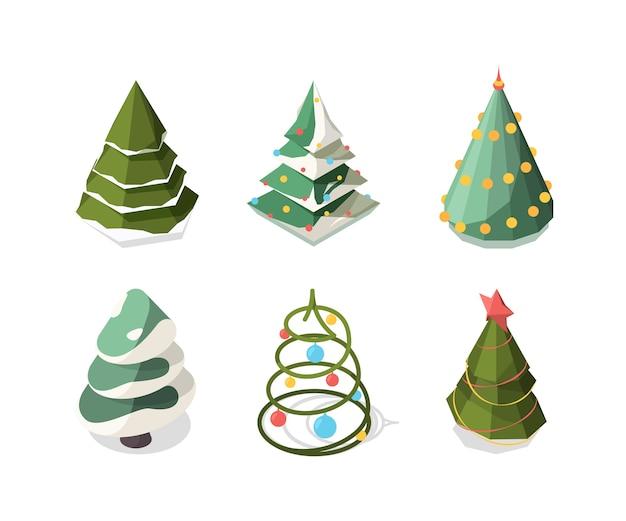 Рождественская елка изометрии. новогодние символы растения украшения зеленая рождественская елка коллекция
