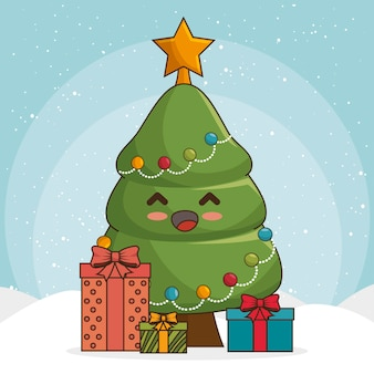 Christmas tree in kawaii style with gift boxes or presents