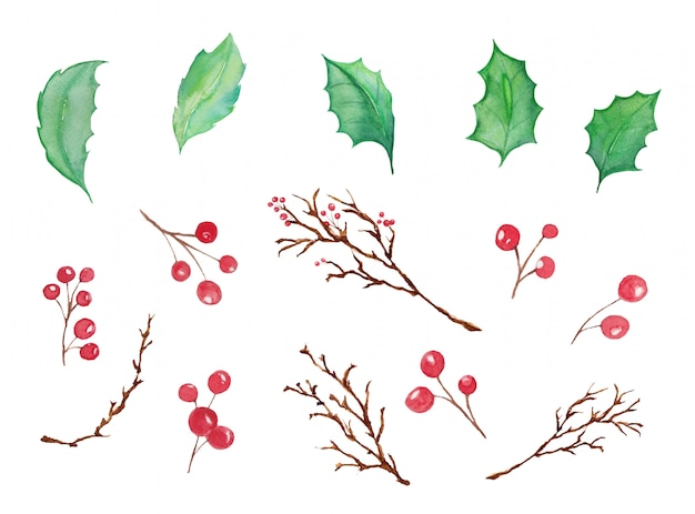 Рождественская елка листья и рождественские вишни акварель изолированы - акварель рождественские иллюстрации украшения