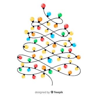 Рождественская елка светлая гирлянда