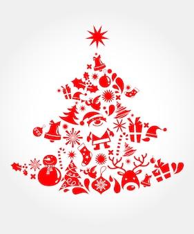 多くのクリスマスアイコンから作られたクリスマスツリー。