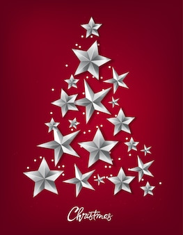 Christmas tree made from silver stars
