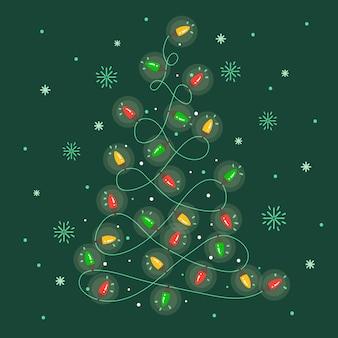 Christmas tree made of light bulbs wallpaper