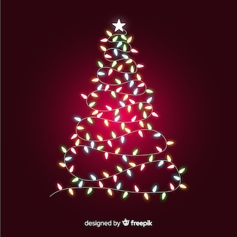 Christmas tree made of light garland