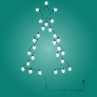 크리스마스 조명으로 만든 크리스마스 트리-축제 조명 화환
