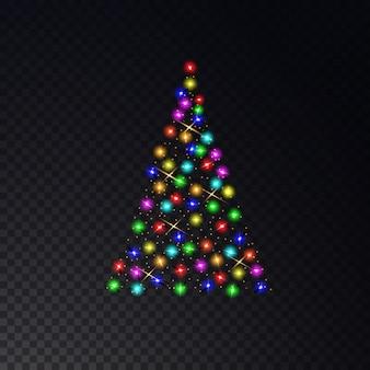 투명에 컬러 조명으로 만든 크리스마스 트리