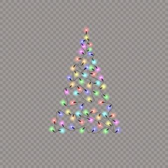 색상 조명 문자열로 만든 크리스마스 트리 프리미엄 벡터