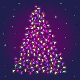 カラフルな電球で作られたクリスマスツリー