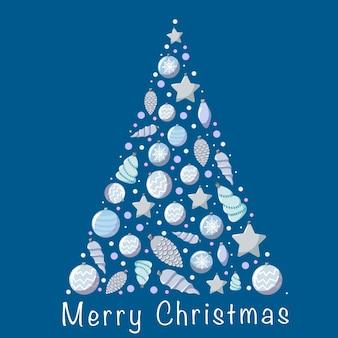 Новогодняя елка из серых игрушек на синем фоне.