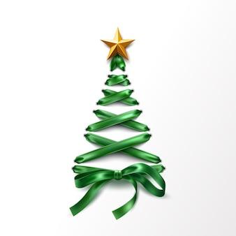 金色の星とレースアップグリーンリボンで作られたクリスマスツリー