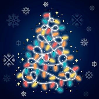 전구로 만든 크리스마스 트리