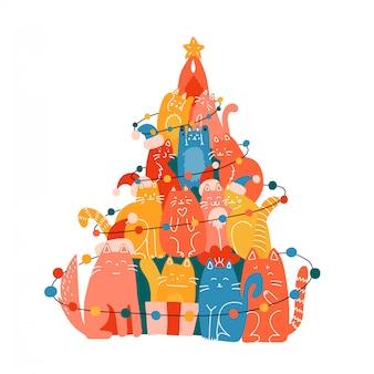 多くの面白い猫で作られたクリスマスツリー。新年のグリーティングカードイラスト。フラットとラインの手描きイラスト。