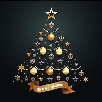 Новогодняя елка из реалистичного золотого украшения