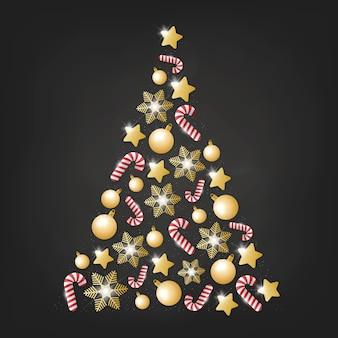 현실적인 황금 장식으로 만든 크리스마스 트리