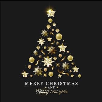 リアルな金色の装飾で作られたクリスマスツリー