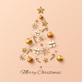 Christmas tree made of realistic golden decoration