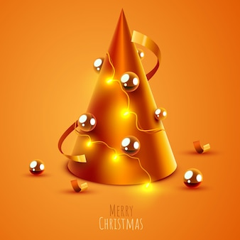 Christmas tree made with golden cone merry christmas and happy new year banner
