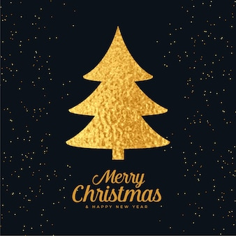 Christmas tree made with golden foil background