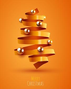 ゴールデンリボンで作られたクリスマスツリーメリークリスマスと新年あけましておめでとうございますバナー