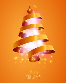 Christmas tree made with golden ribbon merry christmas and happy new year banner