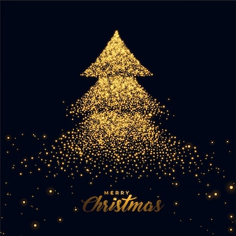 Christmas tree made with golden sparkles