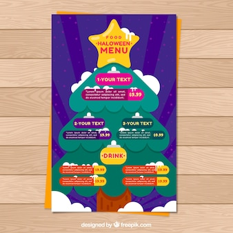 Christmas tree menu in flat design