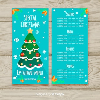 Christmas tree menu template