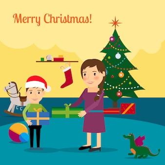 クリスマスツリー、母と息子の図