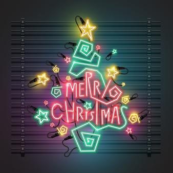 크리스마스 트리 네온 디자인