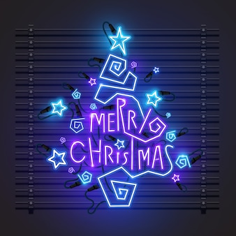 Christmas tree neon design