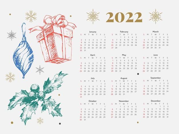 Christmas tree new year sketch calendar week starts on sunday.