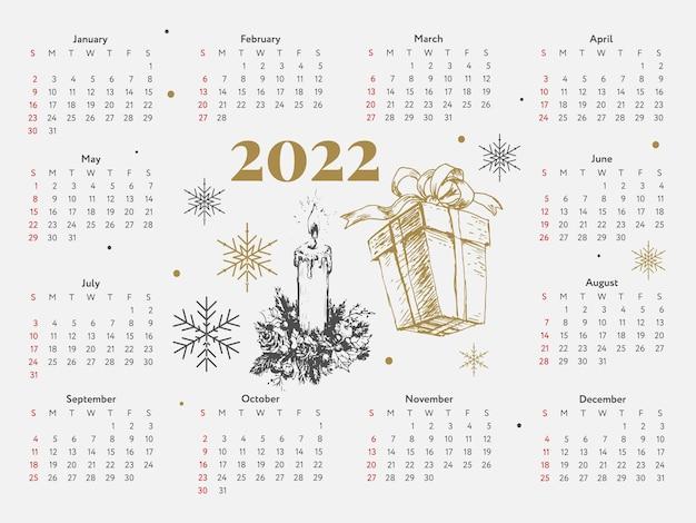 Christmas tree new year sketch calendar week starts on sunday