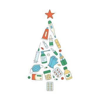 Рождественская елка лекарств, лекарств, таблеток, бутылочек и медицинских элементов. рождество медицины. цветные векторные иллюстрации на белом фоне