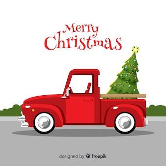 ピックアップトラックのクリスマスツリー