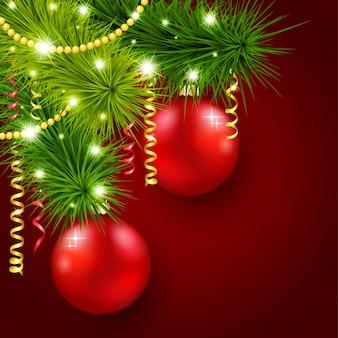 赤い背景の上のクリスマスツリー
