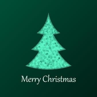 緑の背景にクリスマスツリー。ホリデーカードのデザイン要素。ベクトルイラスト。