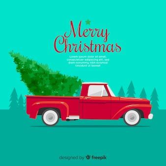 픽업 트럭에 크리스마스 트리