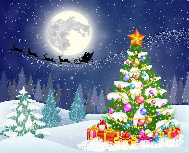 Новогодняя елка на фоне ночного неба