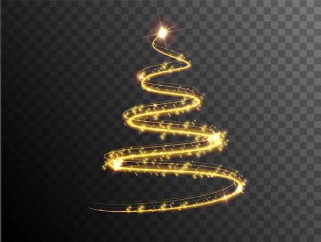 투명 한 배경에 크리스마스 트리입니다. 조명 효과 크리스마스 트리입니다. 새해 복 많이 받으세요, 메리 크리스마스 휴일 축하의 상징. 황금 조명 효과 크리스마스 장식입니다.