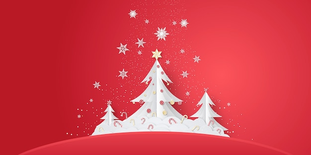 종이에 크리스마스 트리 또는 새 해 배경 컷 스타일