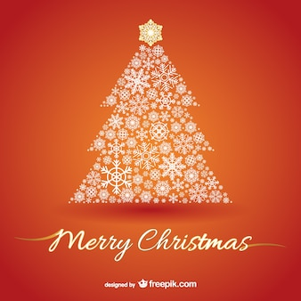 Christmas tree on orange background