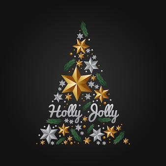 松の木、装飾的なボール、星で飾られたクリスマスツリーの飾り。モダンでリアル。