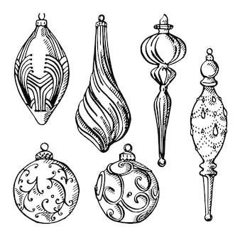クリスマスツリーの飾り。手描きイラスト。新年とクリスマスのデザイン要素。 。ヴィンテージのイラスト。