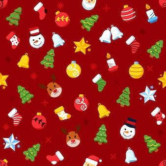 Christmas tree ornament seamless pattern