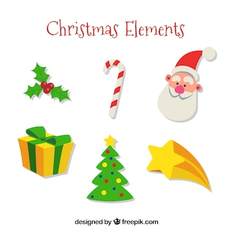 Pacco di albero di natale e altri elementi decorativi