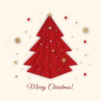 クリスマスツリーペーパーアートスタイル。メリークリスマスと新年あけましておめでとうございますグリーティングカード。