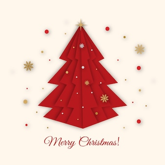 Christmas tree paper art style. merry christmas and happy new year greeting card.