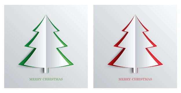 Christmas tree in paper art style with green and red color
